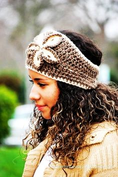 Crochet HeadBand with crochet flower - Earwarmer with crochet flower