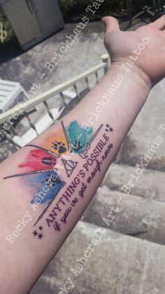 Harry Potter tattoo. Dumbledore. Hermione Granger. Harry Potter. Ron Weasley. Voldemort. Wands. Marauder's footprints. House colors. Ginny Weasley quote. Deathly Hallows. Book stars. Done by Becky Ashcraft of Brickhaus Tattoo in Joplin, MO.