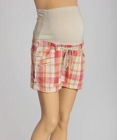 Look what I found on #zulily! Coral Plaid Drawstring Over-Belly Maternity Shorts - Women by Oh! Mamma #zulilyfinds