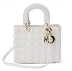 The medium Lady Dior bag in white lambskin with gold hardware