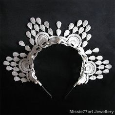 Hera  Peacock White Lace Crown Horse by Missie77artJewellery
