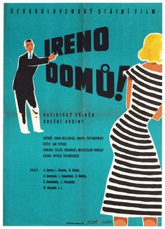 Minimalist movie poster for Polish movie - Irene, Go Home! - fantastic poster design by Unknown Artist, 1956 | Price: £55.00 #MoviePoster  #GraphicDesign #50sMoviePosters #JanFethke #MinimalistMoviePosters #PolishMovie #VintagePoster #Illustration