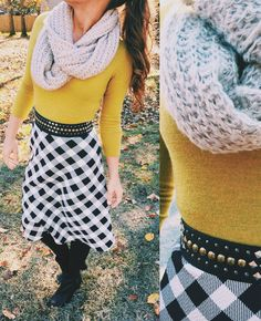 Fall Fashion. Gingham Skirt. Green. Scarf. Booties. Tights. Modest.
