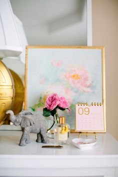 side table decor  Kelly Shatat - Owner, Founder, and Creative Director of Moon and Lola  featured on Jamie Meares, Founder and Creative Director, of Furbish Studio blog - I Suwannee. Raleigh, NC