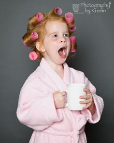 The best part of waking up is Folgers in your cup…  https://www.facebook.com/Photographybykristing?ref=bookmarks  red head, coffee, daddy's girl