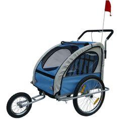 Jogger/Remorque À Vélo 2 En 1 Bleu Avec Amortisseur Cyclisme Sport 0202001