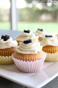 Almond Cupcakes with Blackberry Mascarpone Filling