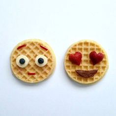 10 Ways to Trick Kids into Eating a Healthy Breakfast Emoji waffles Cute Fruit, Cute Food, Good Food, Yummy Food, Cute Breakfast Ideas, Breakfast For Kids, Breakfast Healthy, Emoji Food, Pancake Art
