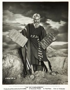 """Charlton Heston as Moses in Cecil B DeMille's """"The Ten Commandments"""" (Paramount, 1956)."""