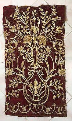 19th ANTIQUE OTTOMAN-TURKISH GOLD METALLIC HAND EMBROIDERED FRAGMENT 77cm*43cm.