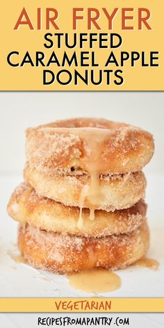 This recipe for Air Fryer Stuffed Caramel Apple Donuts is everything you love about fall. These delicious apple donuts, with a cinnamon sugar-coating and sweet caramel apple filling, are perfect for breakfast, an autumn afternoon snacks, or delectable dessert. Plus, Air Fryer Donuts are a healthier version of the classics, so you'll want to make all season long! Click through for this awesome Air Fryer Caramel Apple Donuts recipe!! #airfryerrecipes #airfryerdonuts #donuts #caramelappledonuts Apple Donut Recipe, Donut Recipes, Best Dessert Recipes, Sweets Recipes, Apple Recipes, Air Fryer Recipes Vegan, Air Fryer Dinner Recipes, Desserts For A Crowd, Easy Desserts