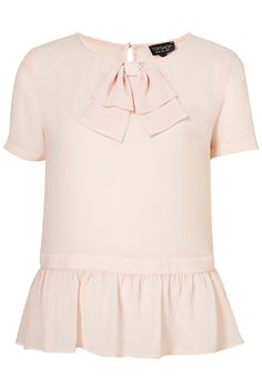 """""""BOW PEPLUM BLOUSE"""" ---   Shortsleeve peplum blouse with front bow and back button and keyhole feature  -- 100% Polyester"""
