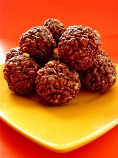 Macrobiotic Chocolate Peanut Butter Brown Rice Crispy Treats- no sugar, no bake.