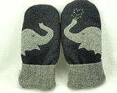 Men Wool Sweater Mittens Recycled Mittens Elephant Mittens Grey Applique Fleece Lined Mittens Leather Palm Eco Friendly  Up Cycled  Size L