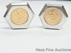 Solid Genuine Two Pesos Gold Coins Set In Sterling Silver Cufflinks