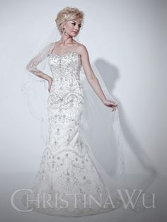 Christina Wu Bridal 15526 Mermaid gown with sweetheart neckline. Gown is fully detailed with beads and embroidery. Zipper closure and small sweep train. Used Wedding Dresses, Wedding Dress Styles, Bridal Dresses, Wedding Gowns, Reception Dresses, Pageant Dresses, Quinceanera Dresses, Christina Wu, Embellished Gown