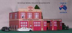 HO Scale Fire Station 4 Door 3D Model Railway Building Kit - FS4D