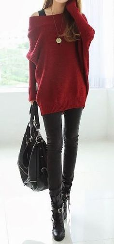 red, oversized, off the shoulder sweater + black skinny jeans + boots