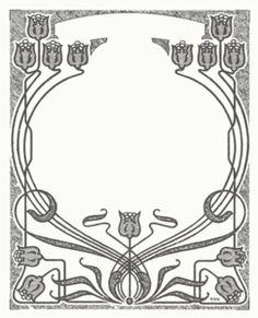 Art Nouveau Flower Frame clip art - vector clip art online, royalty free & public domain