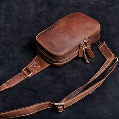 82ff359954e3 Genuine Leather Mens Cool Chest Bag Sling Bag Crossbody Bag Travel Bag  Hiking Bag for men