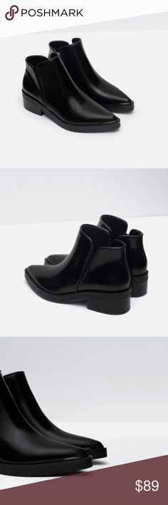 "Flat Pointed Ankle Boots - ZARA Flat Black Ankle Boots. Pointed toe. Metal detail on toe. Block heel. Heel height: 1.5"". NWT. Size: 7.5 (EU 38).                                                              *These boots will give edge to any outfit. Zara Shoes Ankle Boots & Booties"