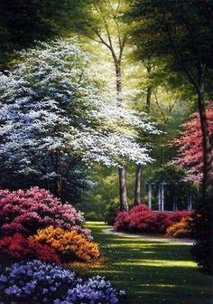 A secluded gazebo is barely visible behind the luxurious flowering bushes in another beautiful floral garden print by award winning artist Charles White. This print comes in two unframed image sizes. Beautiful Paintings, Beautiful Landscapes, Beautiful Gardens, 3d Foto, Image Nature, Nature Nature, Nature Wallpaper, Nature Pictures, Fantasy Pictures