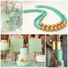 Mint Green and Gold Wedding Inspiration featuring Statement Necklace by BevinBold