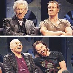 When the space time continuum screws up (let's blame Logan this time) and your past and future selves meet up. And then Erik realises we're joking about him. Marvel Dc Comics, Marvel Heroes, Marvel Avengers, Xmen, Geeks, James Mcavoy Michael Fassbender, Deadpool, Hulk, Logan