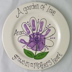Handprint Plate @Casee Corcoran Meach Corcoran Meach Corcoran Meach Crystal  cute for gardening mothers day gift