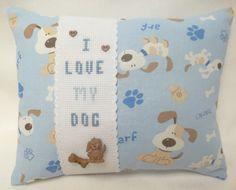 Dog Mini Pillow Cross Stitch I Love My Dog by luvinstitchin4u