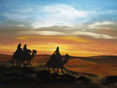 Thank you for viewing my painting!    A beautiful original painting of the Wise Men looking for their Savior    18x24 Quality Gallery