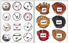 24 Page Download - 3 Ways to Play  - Baseballs with onsets (consonant blends, 2 and 3 letter blends) match up to baseball gloves with more complex ...  $1.95   # Pinterest++ for iPad #