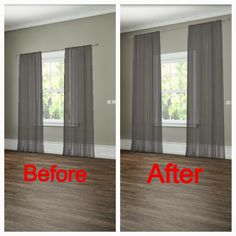 How to hang your curtains to give the illusion of larger windows. -- 27 Easy Remodeling Projects That Will Completely Transform Your Home(Diy House Renovations) Diy Interior, Best Interior Design, Diy Casa, Easy Home Decor, Cheap Home Decor, Home Renovation, Home Projects, Home Improvement, New Homes