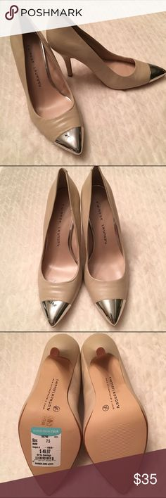 🚨FLASH SALE🚨Chinese Laundry Tan w/Silver Cap Toe New, never been worn Chinese Laundry Danger Zone tan heels with silver cap toe. Size 7.5 M, new with tags but without box. There is a little wrinkling of the right toe leather from just getting rolled around my closet. Chinese Laundry Shoes Heels