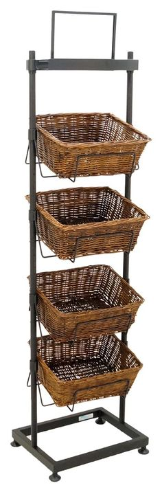 4 Tier Basket Stand | Wicker Containers w/ Sign Holder