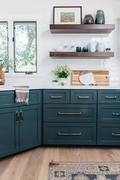 Laguna Beach Cottage Kitchen with Moody Teal Cabinets and Open Shelving with Shimmering White Tile Backsplash Green Kitchen, New Kitchen, Kitchen Dining, Kitchen Decor, Decorating Kitchen, Kitchen Ideas, Awesome Kitchen, Kitchen Pictures, Beautiful Kitchen