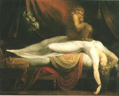 John Henry Fuseli The Nightmare, , Institue of Arts, Detroit. Read more about the symbolism and interpretation of The Nightmare by John Henry Fuseli. Scary Paintings, Goya Paintings, Vintage Paintings, Classic Paintings, Fantasy Paintings, Vintage Art, Art Noir, Arte Obscura, Art History