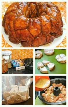 Monkey Bread Whatcha Need: 1/2 cup sugar 2 cans Pillsbury Grands homestyle biscuits 1 cup tightly packed brown sugar 1 tablespoon ground cinnamon 1 stick butter, melted Whatcha Do: 1. Heat the oven to 325°F. Lightly grease 12-cup fluted tube cake pan. 2. Combine the cinnamon and sugar in a large Ziploc bag. 3. Using a pizza cutter, cut each separated biscuit into quarters. Place them in the bag and shake to fully coat. 4. Arrange the biscuit pieces in the pan. Mix the butter and brown sugar…