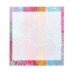 Pretty Bold Colorful Flower Bursts on Wide Stripes Notepad
