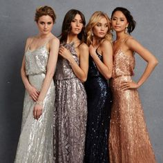 Bridesmaid Dresses - The Maid of Honor will be in the purple/grey dress (second from left) and the other girls will wear the silver and pink.