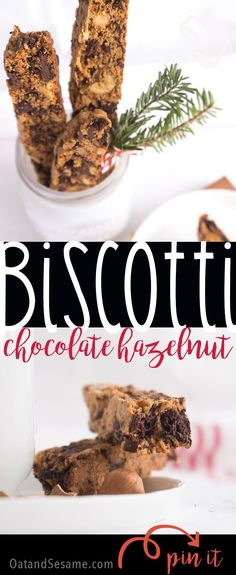 Dark Chocolate Hazelnut Biscotti - the perfect holiday gift and a perfect cookie for dunking in coffee