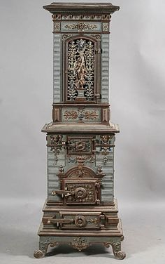 ANTIQUE GERMAN CAST IRON STOVE 1880-1885  ..beautiful - This was used for heating the house .