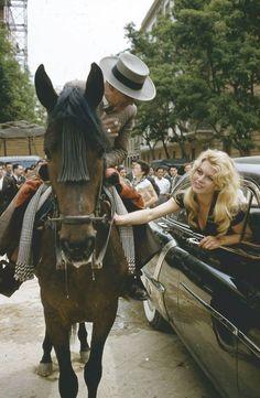 "Brigitte Bardot in Spain during the filming of ""A woman like Satan"", 1958"