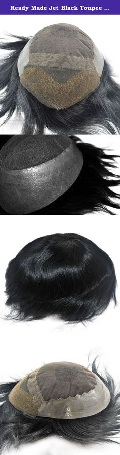 Ready Made Jet Black Toupee Hairpiece for Men Human Hair Replacement Mens Hairpiece. Ready made toupee for men use, 1# jet black color, 6inch hair length, base size is 10x7.5inch, can be cut to 9x7inch or 8.5x6.5inch, free style, 130% medium density,body wave.