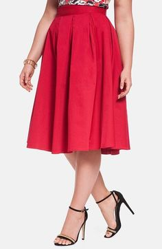 Free shipping and returns on ELOQUII Full Midi Skirt (Plus Size) at Nordstrom.com. Inverted pleats release flouncy flare to a sweet skirt cut from crisp cotton twill in an attention-grabbing shade of red.