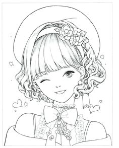 Instant Download! High quality images fit on A4 paper Over 200 printable coloring books available #coloringbook #coloring #portrait #mystica #koreacoloring #download #ebook #coloringpage People Coloring Pages, Cute Coloring Pages, Coloring Pages For Girls, Printable Coloring Pages, Adult Coloring, Girl Drawing Sketches, Anime Girl Drawings, Anime Art Girl, Mini Drawings