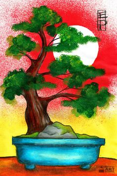 NEW: Bonsai Tree - Easy Peasy Art School. Online step by step Japan themed art lesson for primary teachers and students. Complete with starter template.