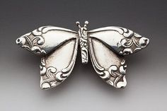 Silver Spoon Brooches - Butterfly - Silver Spoon Brooches Earrings - Roses And Teacups