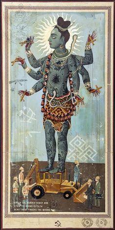 "fishstickmonkey: "" A Labor Dispute Ravi Zupa "" Indiana, Old School Tattoo Designs, Lord Shiva Painting, Shiva Art, Matchbox Art, Indian Art Paintings, Hindu Deities, Visionary Art, Buddhism"