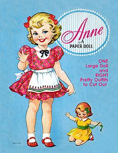 """Anne,  A Paper Doll  A playmate for Sally and Helen, Anne (10"""" high) has a wardrobe of cute, colorful clothes for school, dress-up and play.. For a sturdier doll, glue figure and stand to another piece of cardstock. 1 of 2"""